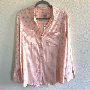 Chico's half placket polka dot blouse pink